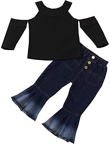 Verve Jelly Kleinkind Baby Mädchen Herbst Outfit Off Shoulder Gerippter Pullover Top Bell-Bottoms Jeans Mode Kleidung Set