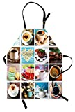 Lunarable Coffee Apron, Collage of Different Photos Coffee Cups Beans Cake Macarons Tasty Food and Drinks, Unisex Kitchen Bib with Adjustable Neck for Cooking Gardening, Adult Size, Pale Blue