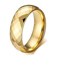 Rockyu ブランド タングステンリング メンズ ゴールド 多面カット シンプル 甲丸 指輪 人気 幅広 ヘアライン加工 艶消し おしゃれ プレセント (15)