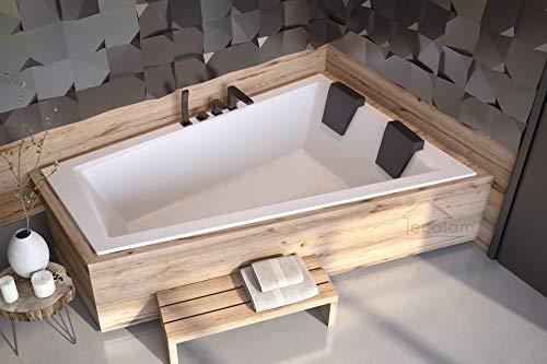 ECOLAM Badewanne Intima Duo Slim Eckwanne für Zwei 180x125 cm RECHTS + 2x Kopfstütze Ab- und Überlauf Automatik Füße Silikon - PERFEKT FÜR ZWEI PERSONEN