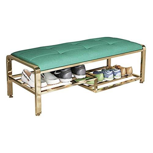 Productos para el hogar Zapateros Banco tapizado Zapatero Organizador de almacenamiento Taburete de extremo de cama con estante de almacenamiento para la entrada Dormitorio Sala de estar (Tamaño de