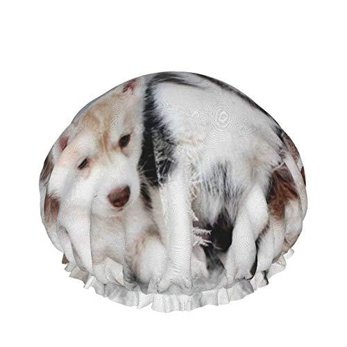 Husky Puppy - Gorro de ducha multifuncional para mujer, pelo largo, impermeable, reutilizable, transpirable, para chef, evita interferencias de cabello