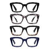 zxyoo 4 pacco occhiali da lettura - quadrati grande anti-luce blu lettore con cerniera a molla per donna +2,50