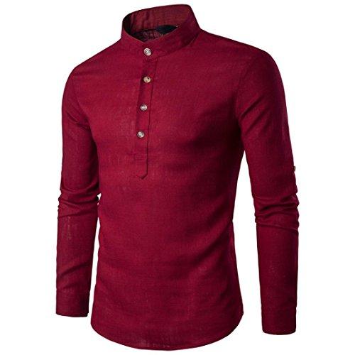 Zarupeng Herren Langarm Shirt, Einfarbig Slim Fit Poloshirt, T-Shirts aus Leinen und Baumwoll, Stehkragen Hemd Oberteile Pullover (XL, Rot)