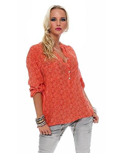 Zarmexx feine Viskosebluse Hemdbluse Fischerhemd Regular fit leichte 3/4-Arm Sommerbluse Tunika zart geblümt lachs One Size (38-42)