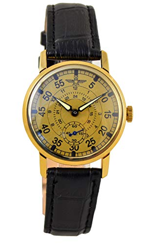 Military Pobeda Mens Wrist Watch Aviator Vintage USSR Rare Watch (Classic Black Strap)