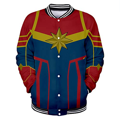 Captain Marvel Jacket Clásico Confort Chaqueta Personalidad Moda generosa Preferida Caliente Escudo Fino Coat (Color : A03, Size : XL)