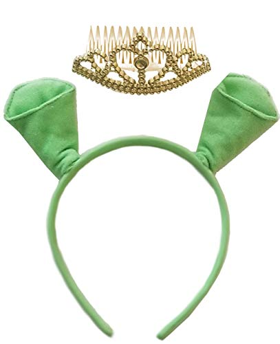 Sanctuarie Designs Fiona Plus Size Halloween Costume Accessory Green Ogre Ears Headband w/Separate Crown