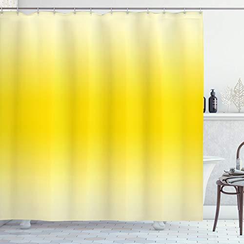 Ombre cortina de ducha por Ambesonne, Sun Kissed verano caliente playa inspirado Ombre diseño Digital impreso decoración, set de decoración de baño con ganchos de tela, 75cm de largo, Amarillo