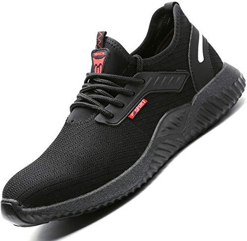 Ucayali Zapatos de Seguridad Hombre Trabajo Verano Zapatillas Trabajar Comodos Ligeros Transpirables Calzado de Seguridad Deportivo Punta de Acero(015 Negro, 46 EU)