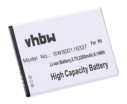vhbw Li-Ion Akku 2200mAh (3.7V) für Handy Smartphone Telefon Cubot P9