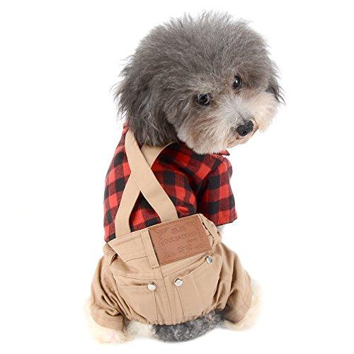 Ranphy Sudadera para perros pequeños Suéteres Chihuahua Ropa para mascotas para perros Gatos Trajes Camisas a cuadros rojos con pantalones de color caqui Mono Ropa para cachorros Mono L