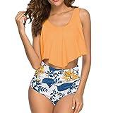 ZHUQI Bikini da Donna Set da Bagno con Gilet a Volant Costumi da Bagno a Due Pezzi Stampa Bikini a Vita Alta Bottoms Beachwear S