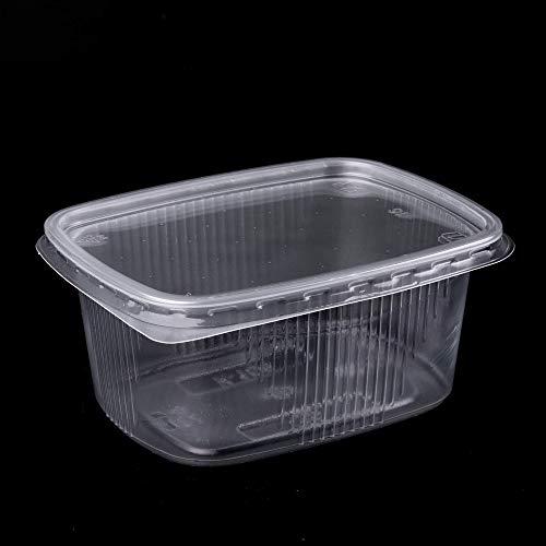 (Paquete de 150) Envases de ensalada de 250 ml Comida rápida para llevar Caja desechable tapas de plástico Almacenamiento