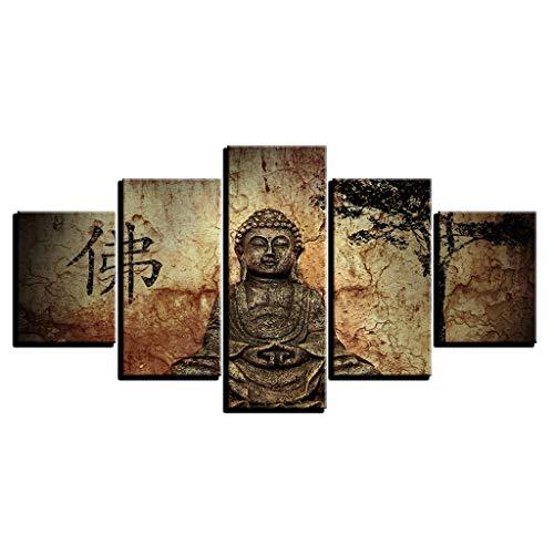 LXXTI muurkunst, motief: waterval, Boeddha, schilderij op canvas, muurschilderingen, decoratie voor woonkamer 40x60x2+40x80x2+40x100x1 Oro rosa + oro rosa