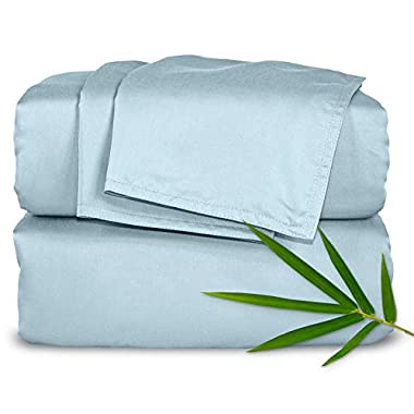 Pure Bamboo Sheets Queen 4pc Bed Sheet Set - 100% Bamboo Luxuriously Soft Bed Sheets (Queen, Sterling Blue)