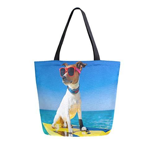 MNSRUU Hundesurfboard Sonnenbrille Ocean Shore Lebensmittelgeschäft Wiederverwendbare Tragetasche für Frauen groß Casual Handtasche Schultertaschen für Einkaufen Lebensmittel Reisen Outdoor
