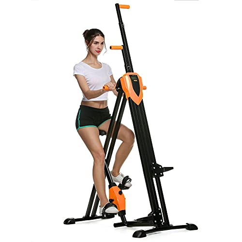 aolier Vertical Climber 2-in-1 Full Body Exercise Equipment 350 Lbs Folding Cardio Workout Stair Stepper Trainer for Home Gym 5 Height Levels Fitness Stair Climber with Digital Monitor (Orange)