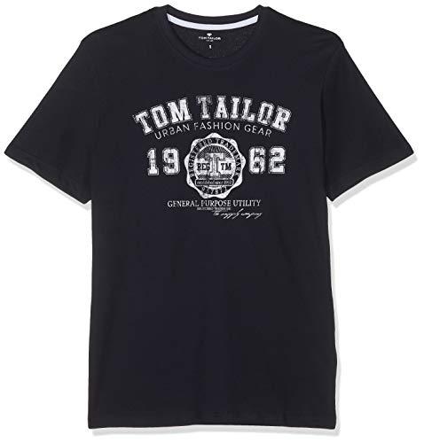TOM TAILOR für Männer T-Shirts/Tops T-Shirt mit Logo-Print Knitted Navy, XXL