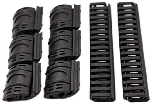 MAYMOC (schwarz) 4 x AEG 20mm Gummischienenabdeckungen Begrenzungsscheibe Leiter Airsoft RIS Stil Cove + 16 x Tan Airsoft XTM Begrenzungsscheibe Schienen Panels Abdeckungen