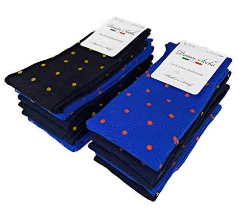 DREAM SOCKS 6 paia calze lunghe da uomo in cotone filo di scozia elasticizzate,calze lunghe molto leggere made in italy rimagliate a mano, disponibili vari assortimenti (39/42, set.pois)