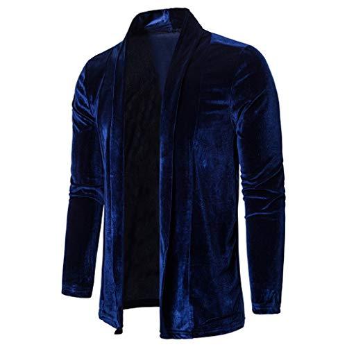 Mens Pure Color Gold Velvet Trench Coat Cardigan Long Sleeve Outwear Blouse Dark Blue