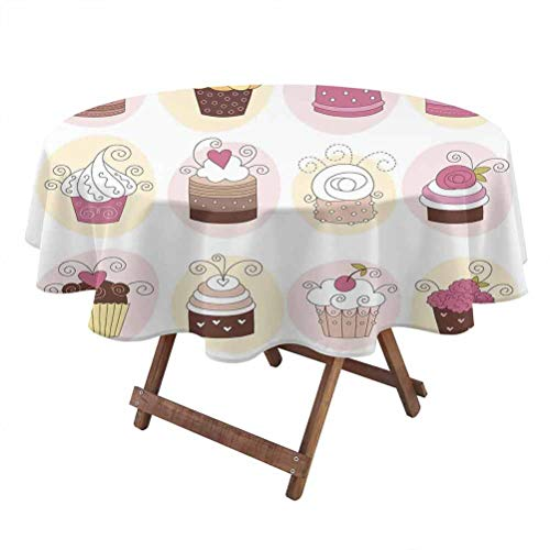 Modern Machine washableRound Tablecloth Cupcakes Bakery Pastry Design Confectioners Decorations Cake Retro Style Decor Household Tablecloth 50 Inch Round Pastel Pink Cream