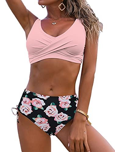 WINKEEY Costume da Bagno Donna Estate Spiaggia Bikini Sexy Stampa Morbida Costume da Bagno Taglie Forti, Fiore Nero Rosa XXL