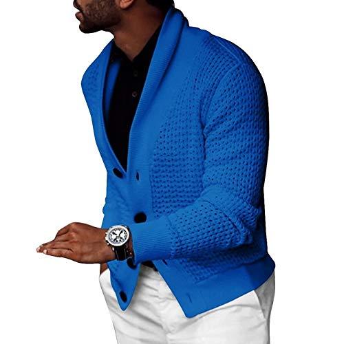 Chaqueta de Punto Hueca para Hombre Color sólido Un Solo Pecho Relajado Casual Cómodo Simplicidad Moda suéter Abrigo XXL