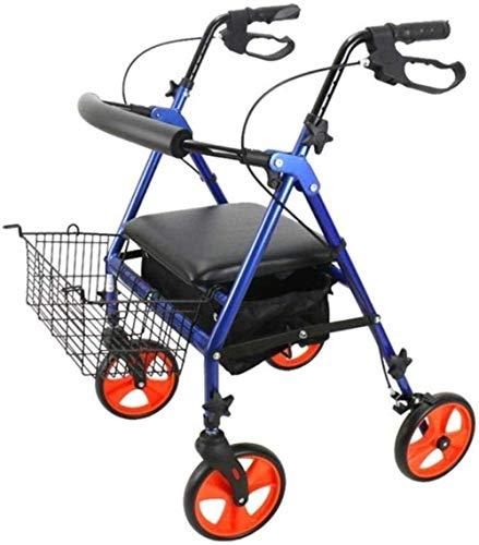 Andadores para discapacidad Andador para Ancianos 4 Ruedas laminación de Aluminio Walker con Acolchado del Respaldo del Asiento sillón de Ruedas Mayor Walker Plegable