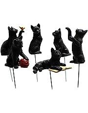 6 st trädgård katt statyer dekor mini mikro landskap blomkruka plug-in med lysande öga svart katt harts hantverk ornament trädgård plug-in för terrass gräsmatta