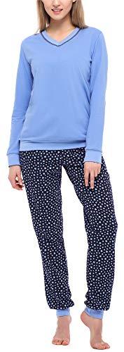 Merry Style Damen Schlafanzug MS10-230 (Blau/Sterne, L)