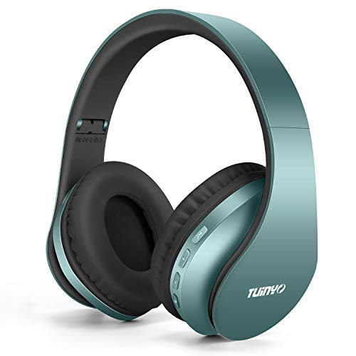 Bluetooth Headphones,Tuinyo Wireless Headphones Over Ear with Microphone, Foldable & Lightweight Stereo Wireless Headset for Travel Work TV PC Cellphone- Silver Blue