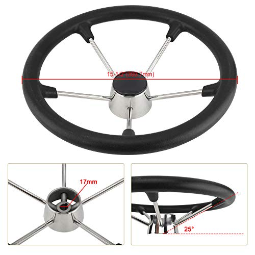 Yaegarden 11 Inch 5 Spoke Boat Steering Wheel, Stainless Marine Wheel with Black Foam Grip