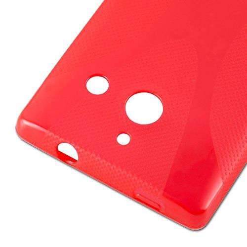 Cadorabo Hülle für Huawei Ascend W1 - Hülle in Inferno ROT – Handyhülle aus flexiblem TPU Silikon im X-Line Design - Silikonhülle Schutzhülle Soft Back Cover Case Bumper - 2