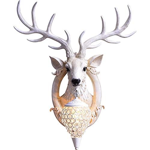 TOPNIU Lámpara de pared de Hoodia, sala de estar de la sala de televisión Lámpara de pared, lámpara de camarera de venado creativa, decoración del dormitorio casero, faro de ciervo de resina sintética