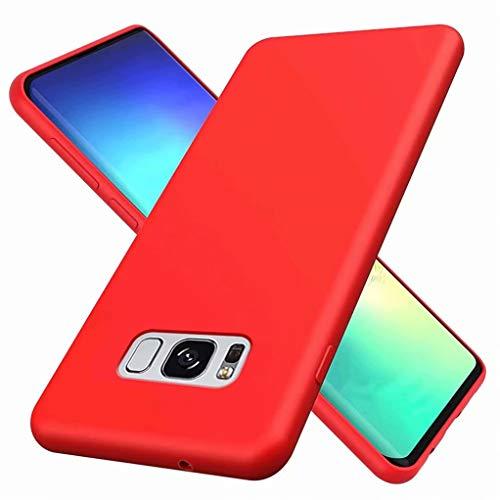 CRABOT Compatibile con Samsung Galaxy S8 Custodia Silicone Liquido Paraurti In Gomma Gel Slim Antiurto Protettiva Caso+1*(Proteggi Schermo Gratuito)-Rosso