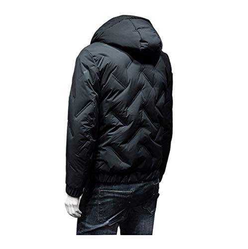 LJWLCH Daunenjacke Herren Jugendjungen Mantel Jacke Kapuze leichte Winter warme Schwarze graue Jacke hoher Kragen mit Tasche winddichtes Hemd Herrenbekleidung-Black-S