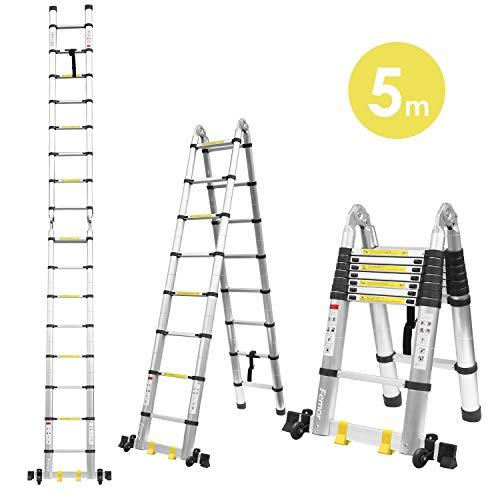 Fixkit 5M(2,5M+2,5m) Escalera Plegable Aluminio, Escalera Telescópica, Escalera Alta...