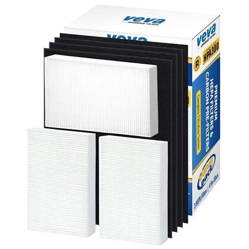 VEVA Air Purifier Filter Replacement - 3 Pack of HEPA Filters w/ 4 Precut Activated Carbon Pre-Filters, Compatible with Honeywell HPA300 Purifiers & Replacement Filter R