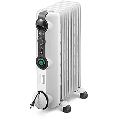 DeLonghi Oil-Filled Radiator Space Heater, Quiet 1500W, Adjustable Thermostat, 3 Heat Settings Energy Saving, Safety Features, Nice for Home with Pets/Kids, Light Gray-Comfort Temp