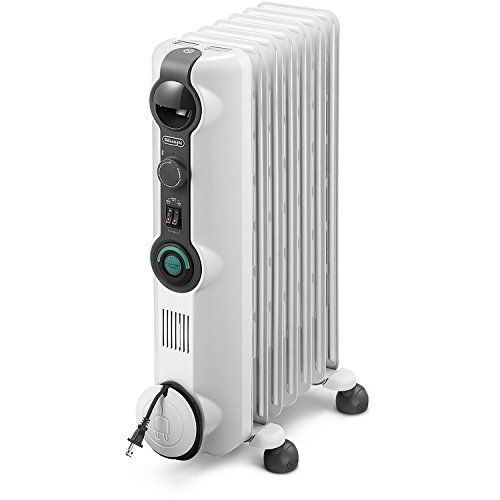 De'Longhi Oil-Filled Radiator Space Heater, Quiet 1500W, Adjustable Thermostat, 3 Heat Settings, Energy Saving, Safety Features, Nice for Home with Pets / Kids, Light Gray, Comfort Temp KH390715CM