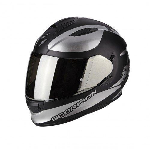SCORPION Casque moto EXO 510 AIR SUBLIM Noir mat Chrome, Noir/Blanc, M