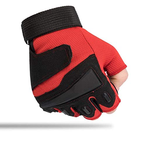 Sporthandschuhe Halbfingerhandschuhe Outdoor-Fitness rutschfestes Bergsteigen mit fingerlosen L_red-Trainingshandschuhen