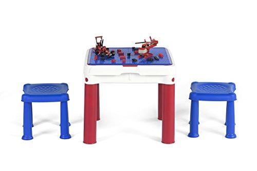 Keter 51 x 51 x 44 cm Table avec Deux tabourets Intérieur/extérieur pour Enfant Jouer et Ranger – Bleu/Blanc/Rouge