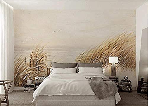 Riverside Grass Reed 3D behang olieverfschilderij modern wandkunst gepersonaliseerd behang fotobehang - 45cmx300cm