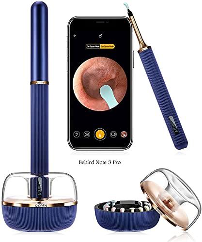 Otoscopio BEBIRD Note3 Pro con endoscopio fotocamera HD da 10 megapixel, kit di rimozione del cerume wireless visibile e sicuro, compatibile con IOS, Android bambini, adulti (Blue)