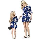 Vestidos de Madre e Hija Sin Tirantes Estampado Floral Casual Verano Niños Bebé Familia Ropa