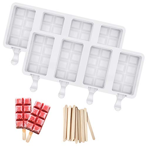 Ozera 2 Pcs Silicone Popsicle Molds 4 Cavities Cakesicle Molds Silicone Cake Pop Mold with 50 Wooden Sticks