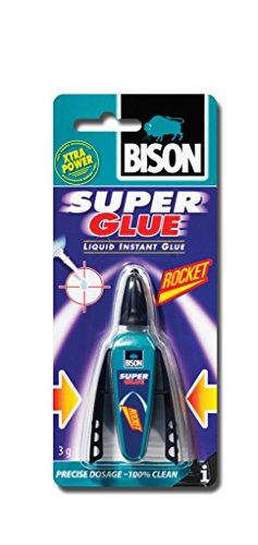 1x 6308061Bison SUPER Kleber Rocket sofort Universal Klebstoff 3g Liquid mit Präzise Auftragen und wieder verschließbaren Gap